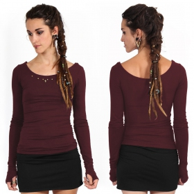 """Tchaïka\"" long sleeves top, Wine"