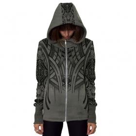"\""Teardrop\"" zipped hoodie, Grey hydron"