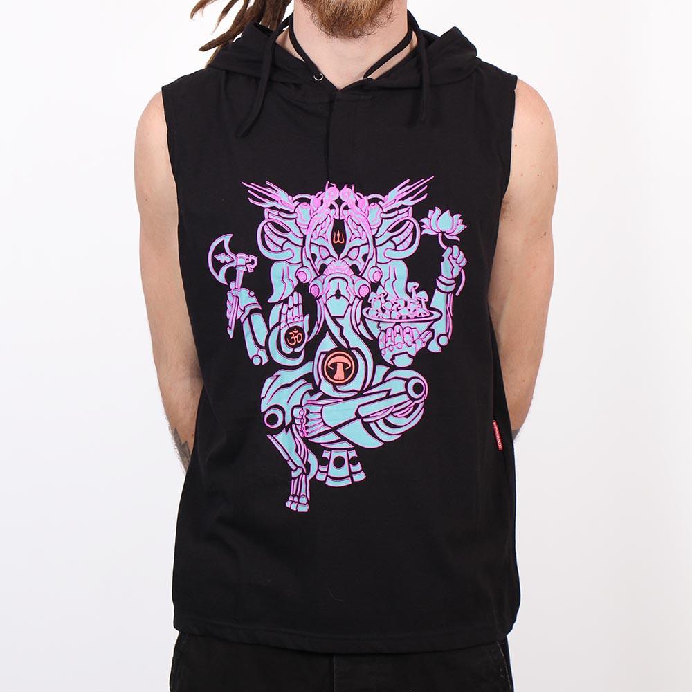 """Tee Shirt Shaman \""""Ganesh Psylo\"""", Black"""