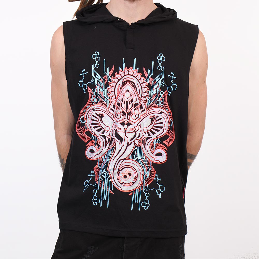 "Tee Shirt Shaman ""Molecules Cyber Ganesh\"", Black"