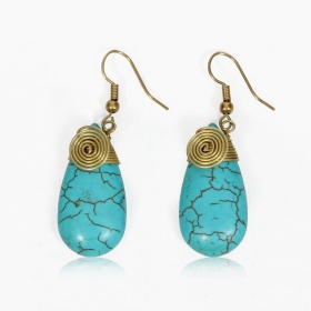 """Thayda\"" brass earrings, Blue"