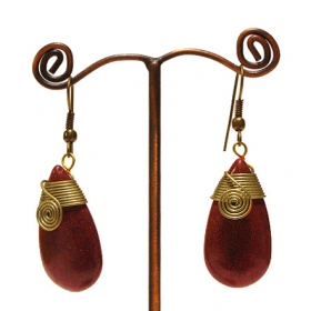 """Thayda\"" ethnic golden brass earrings with beads and stones"