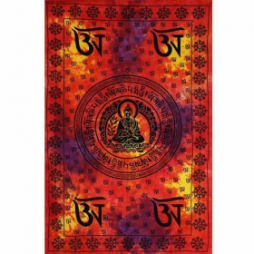 """Tibetan Bouddha\"" hanging, Multi orange"