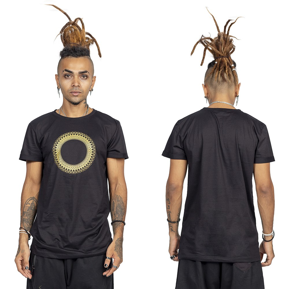 """Tierra Helios\"" t-shirt, Black and gold"