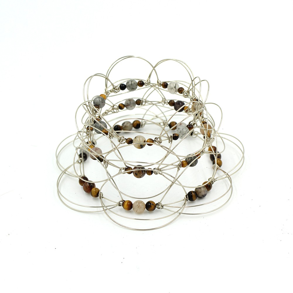 Tiger Eye stone Pyramid 3, wire 3D Mandala