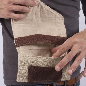 "Tobacco pouch \""Kaski\"", sand hemp and cotton"