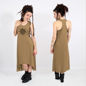 "\""Toonz mandala\\\"" asymmetric dress, Brown and gold"