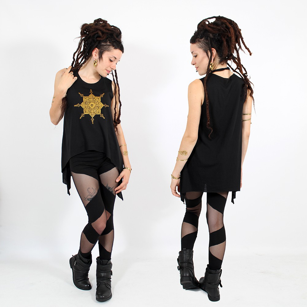 "\""Toonz mandala\\\"" asymmetric top, Black and gold"