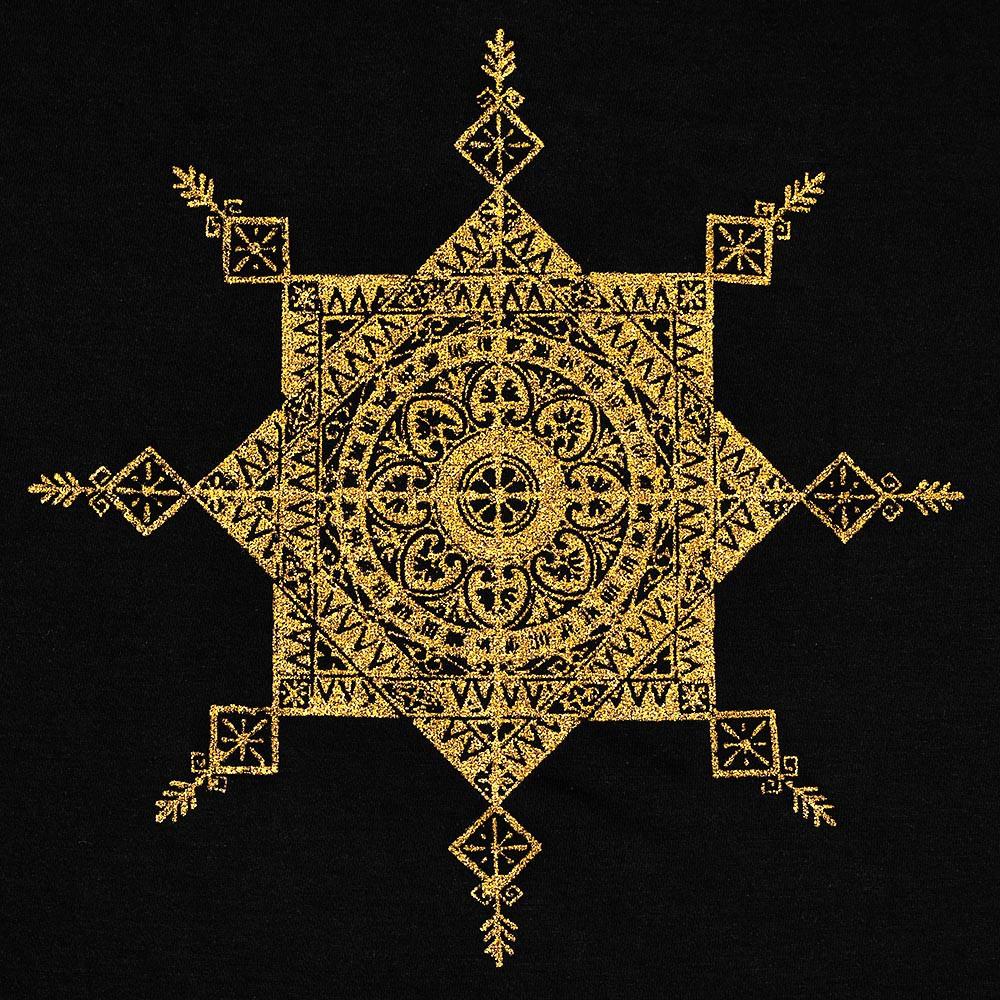 "\""Toonz Mandala\"" dress, Black and gold"