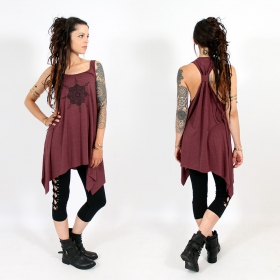 "\""Toonz mandala\\\"" knotted tunic, Mottled wine and black"