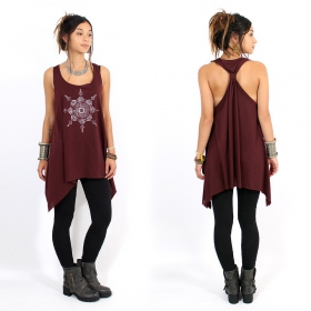 "\""Toonz Mandala\\\"" knotted tunic, Wine and silver"