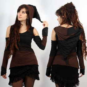"""Top \""""Middage\"""", Black brown with black lace"""