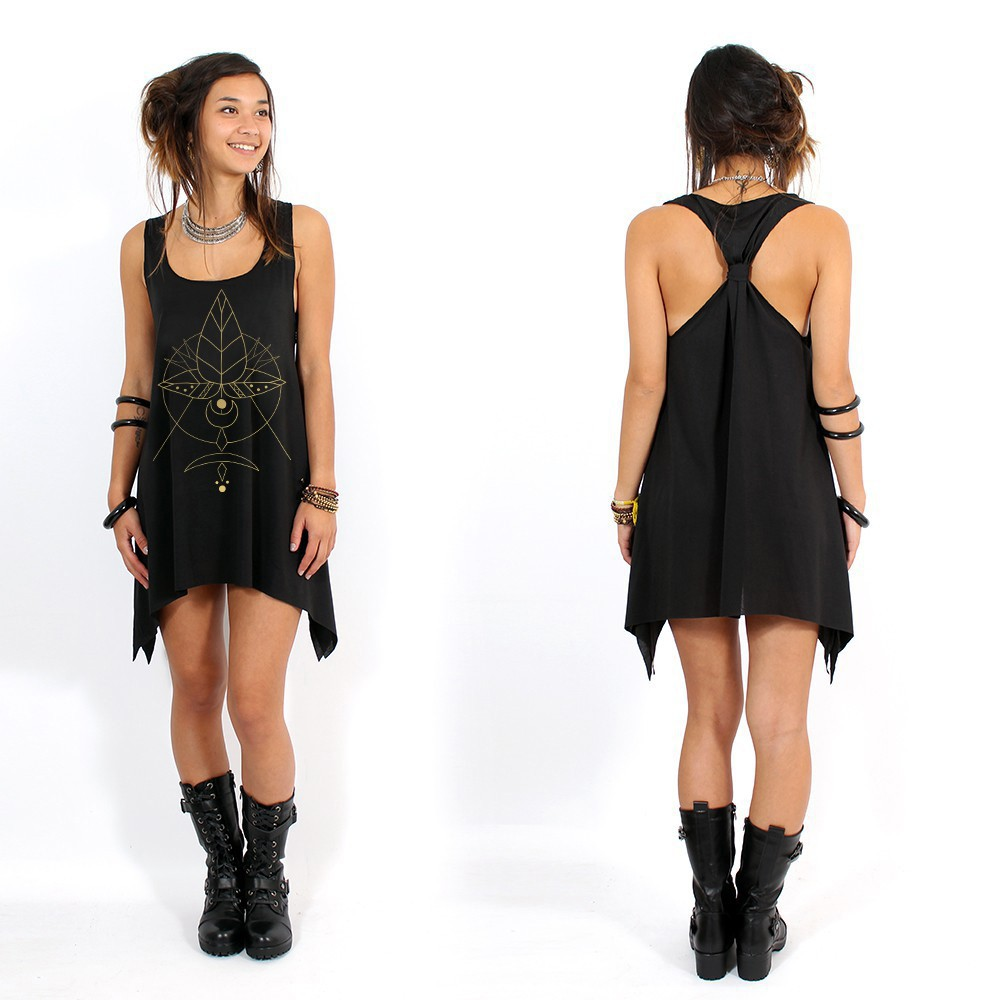 """Totem\"" knotted tunic, Black and gold"