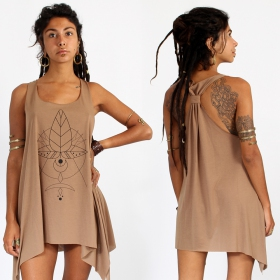 """Totem\"" knotted tunic, Brown and black"