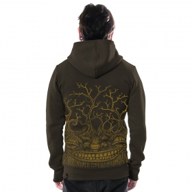 """Treep\"", zipped hoodie, Dark Brown"