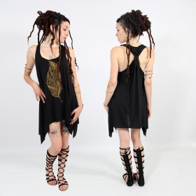 "\""Tribal feather\\\"" knotted tunic, Black and gold"