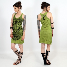 "\""Tribal tattoo face\\\"" dress, Apple green"