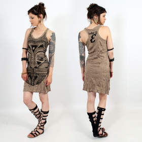 "\""Tribal tattoo face\\\"" dress, Light brown"