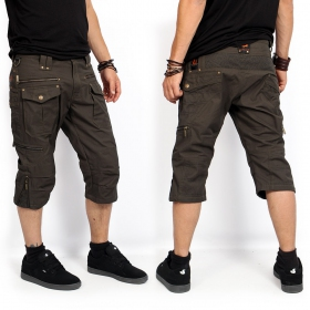 """Trishul\"" 3/4 shorts, Dark khaki green"