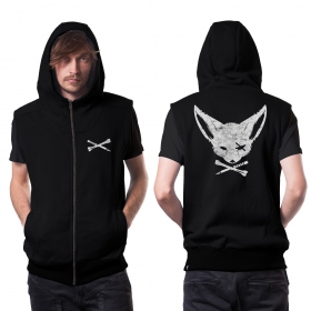 """Twizy\"" zipped sleeveless hoodie, Black"