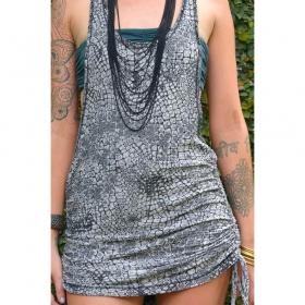 "\""Ubud Snake\"" dress, Black and grey print"
