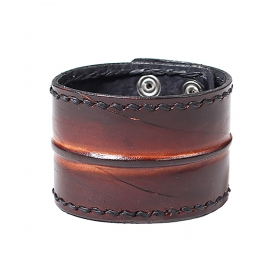 """Ujjala\"" leather bracelet, Black and brown"