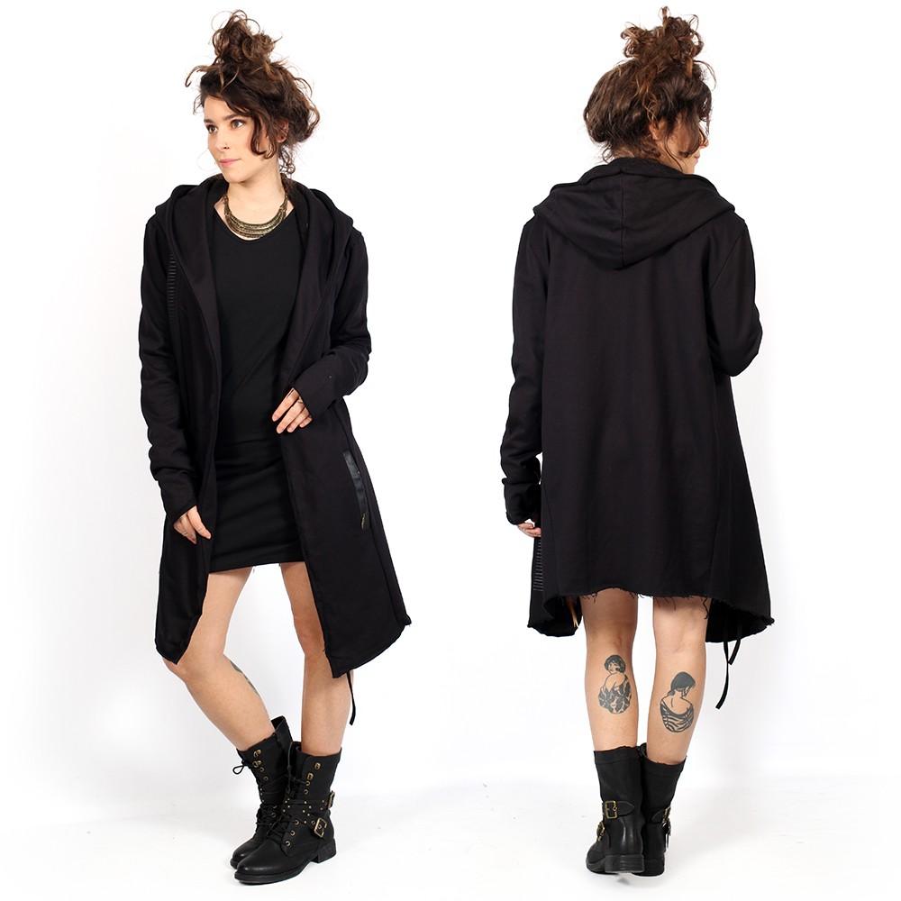 "\""Umma Gumma\"" unisex long sleeves hooded jacket, Black"