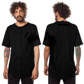 """Uneven\"" buttoned t-shirt, Black"