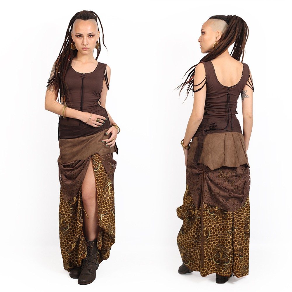 """Utopia\"" 3in1 skirt, Brown with camel patterns"