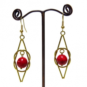 "\""Uzza\"" ethnic golden brass earrings with beads and stones"