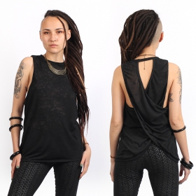 """V-173\"" sleeveless t-shirt, Mottled black"