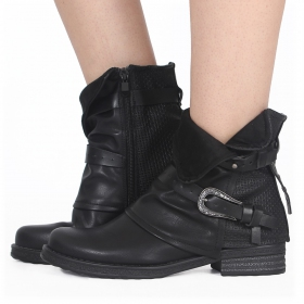 """Vayyan\"" boots, Black with black strap buckles"
