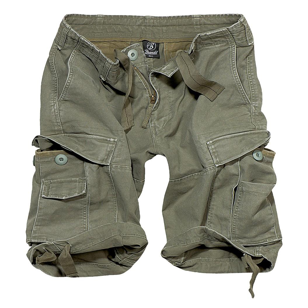 "\""Vintage\"" cargo combat shorts, Khaki green"