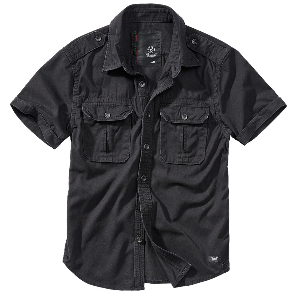 """Vintage\"" short sleeved shirt, Black"