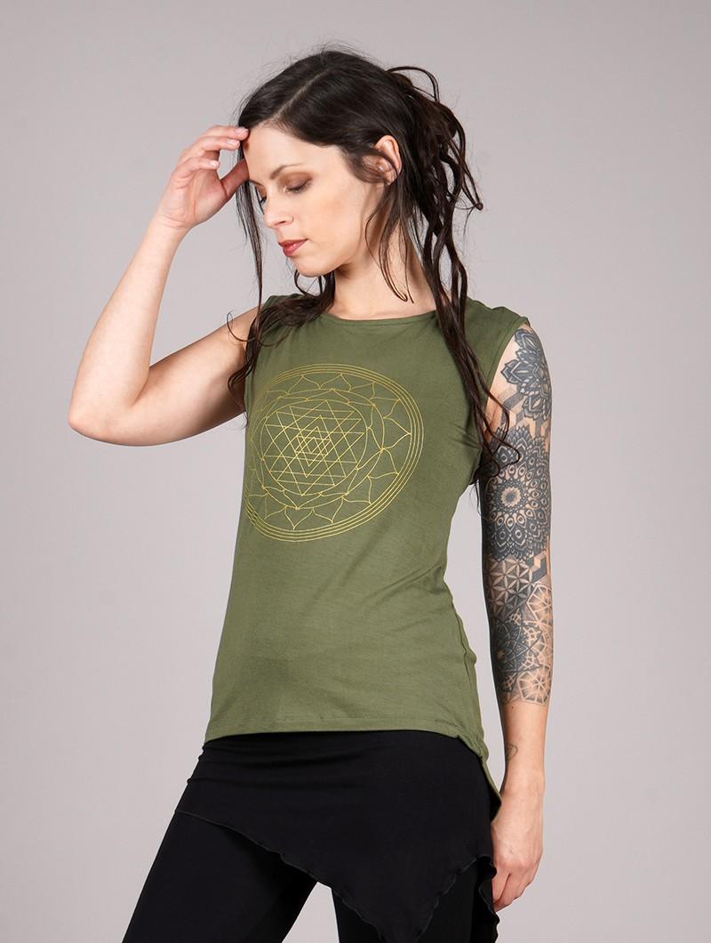 "\""Vishakha\"" tank top, Khaki green"