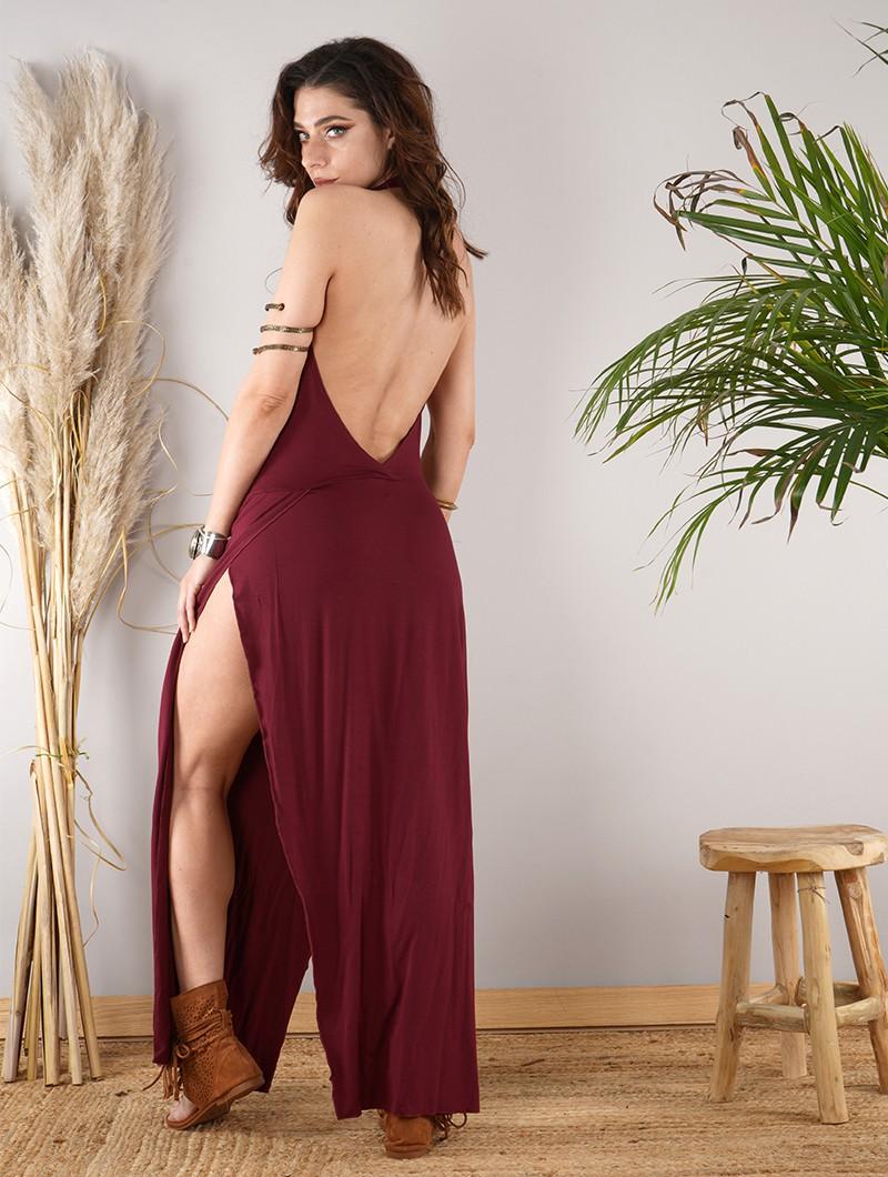 "\""Waheeda\"" long dress, Wine"