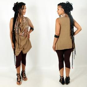 """Witch \""""Ayakii\"""" sleeveless shawl, Beige"""