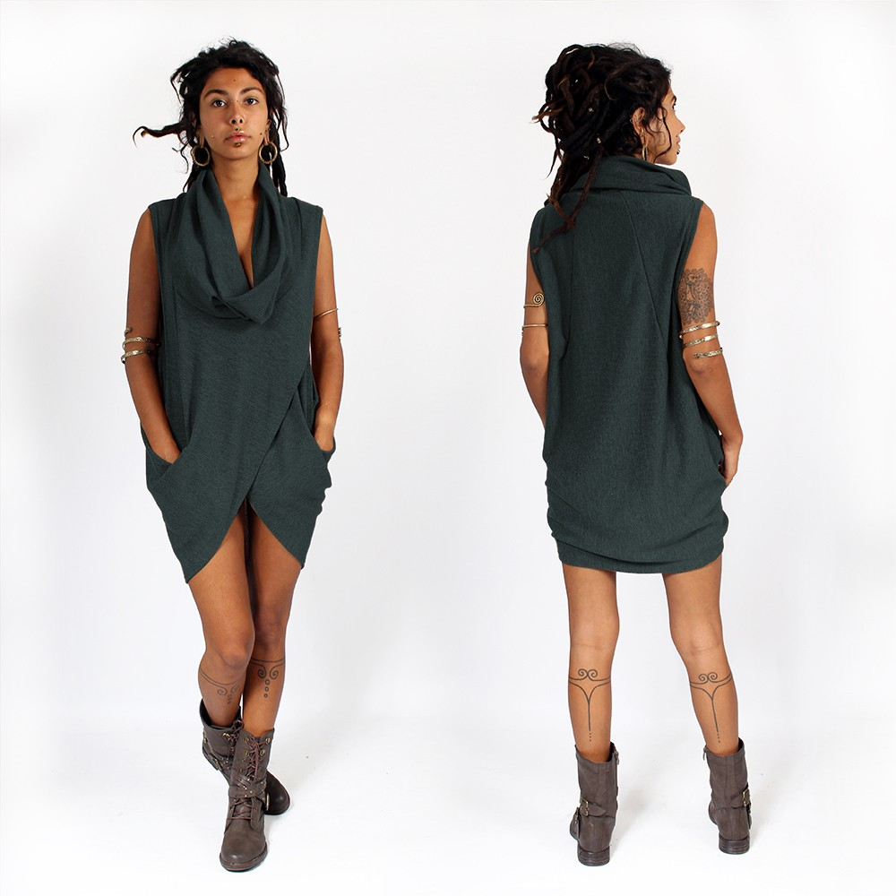 "Witch sleeveless pullover shawl ""Amala\"", Teal"