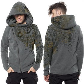 """Witcher\"" zipped hoodie, Mottled grey"