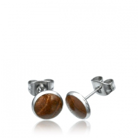 """Wood circle\"" stud earrings"