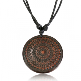 """Wooden Mandala\"" necklace"