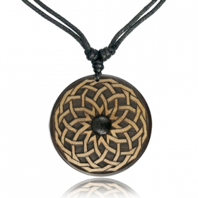 """Wooden Sacred Geometry\"" Onyx and wood necklace"