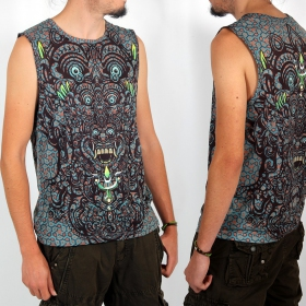 "Yacxilan ""BaliHigh\"" sleeveless T-shirt, Blue and brown"