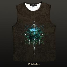 """Yacxilan \\\""""Pakal\\\"""" sleeveless T-shirt, Chocolate"""