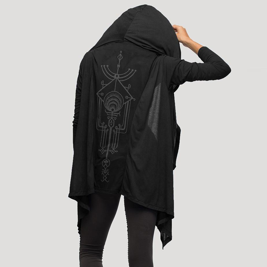 "\""Yingyang\"" light kaftan vest, Black"