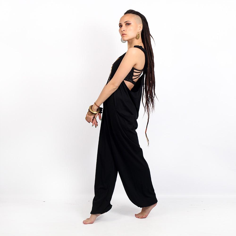 "\""Yoga Halo\"" bra, Black with Chevron print"