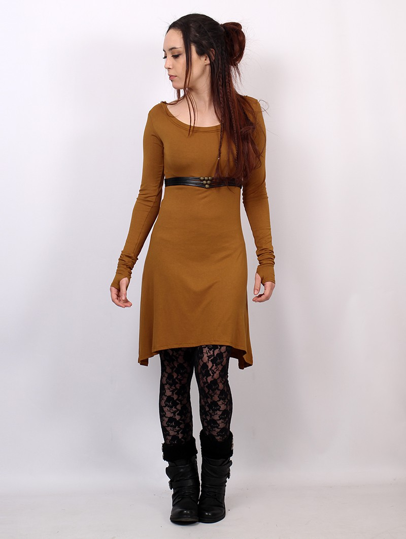 "\""Ysïaa\"" long sleeve dress, Rusty"