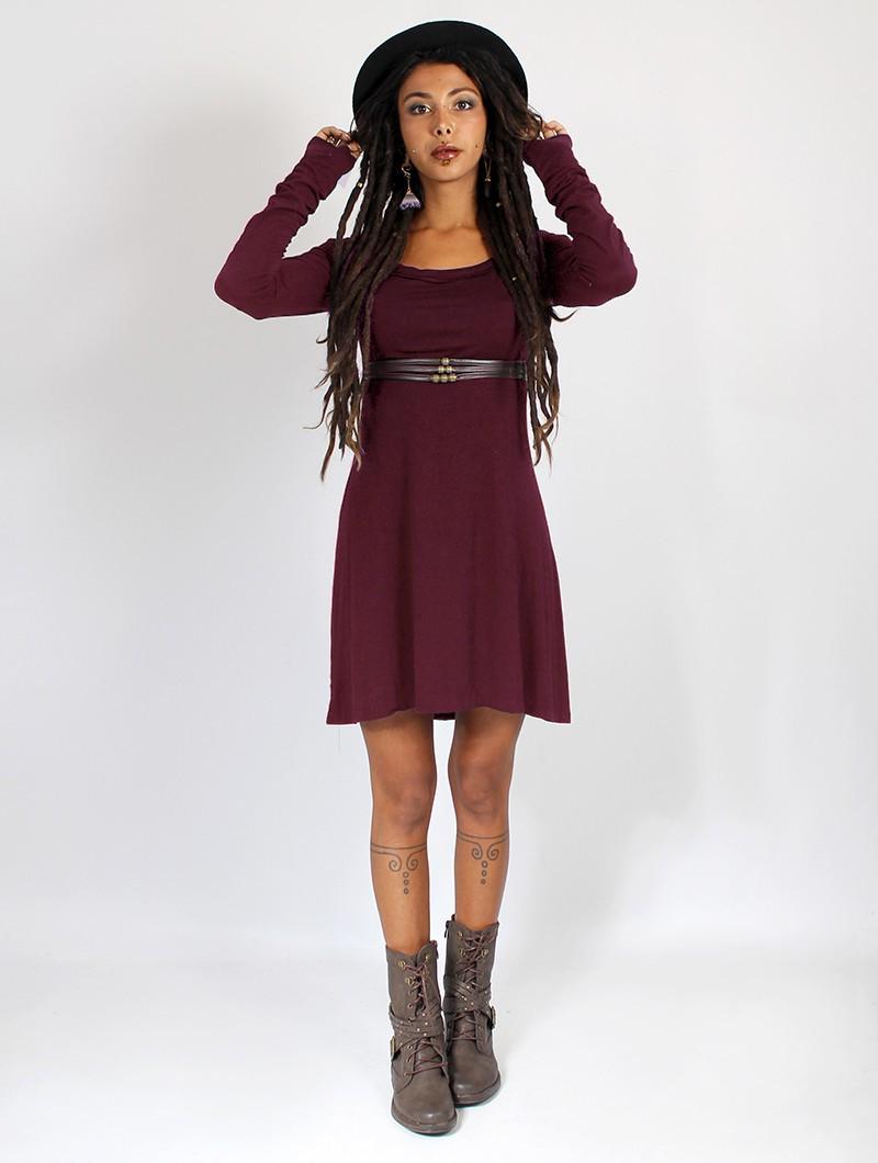 "\""Ysïaa\"" long sleeve dress, Wine"