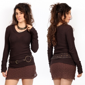 """Ysïs ~ 100% Cotton\"" sweater, Dark brown"