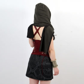 """Zakia\"" reversible hooded scarf, Black and charcoal"